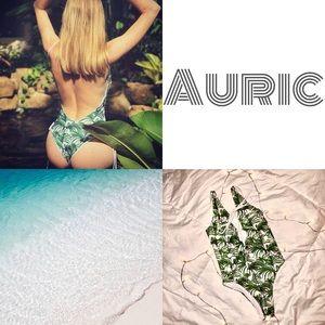 Auric | palm lace up one piece swim suit | size M